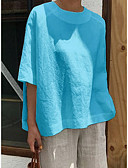 hesapli Gömlek-Kadın's Pamuklu Salaş - Tişört Solid Temel Siyah