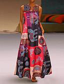 povoljno Maxi haljine-Žene Veći konfekcijski brojevi Širok kroj Swing kroj Haljina Geometrijski oblici Duboki V Maxi