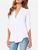 hesapli Gömlek-Kadın's V Yaka Bluz Kırk Yama, Solid Sokak Şıklığı Gri