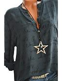 ราคาถูก เสื้อเชิ้ตสำหรับสุภาพสตรี-สำหรับผู้หญิง เชิร์ต พื้นฐาน ลายพิมพ์ คอวี ลายตัวอักษร ทับทิม