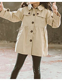 cheap Girls' Tops-Kids Girls' Basic Sophisticated Solid Colored Regular Cotton Polyester Trench Coat Khaki
