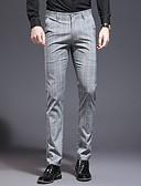 hesapli Pantolonlar-Erkek Günlük Günlük Pantolon - Damalı / Gingham Polyester Açık Gri 28