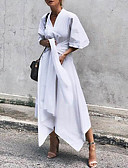 hesapli Kadın Elbiseleri-Kadın's Sokak Şıklığı Zarif A Şekilli Kılıf Elbise - Solid Midi