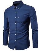 זול חולצות לגברים-אחיד בסיסי / סגנון רחוב מידות גדולות כותנה / פשתן, חולצה - בגדי ריקוד גברים אפור / שרוול ארוך