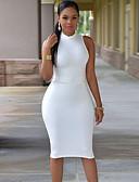 hesapli Mini Elbiseler-Kadın's Zarif Kılıf Elbise - Solid, Arkasız Diz üstü