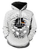 cheap Men's Hoodies & Sweatshirts-Men's Casual / Street chic Hoodie - Color Block / 3D / Cartoon White US36 / UK36 / EU44