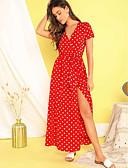 hesapli Print Dresses-Kadın's Temel A Şekilli Elbise - Yuvarlak Noktalı, Desen Maksi