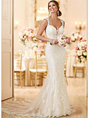 billige Bryllupskjoler-Havfrue V-hals Svøpeslep Blonder Made-To-Measure Brudekjoler med av LAN TING Express