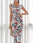 hesapli Kadın Elbiseleri-Kadın's Boho Kombinezon Elbise - Geometrik, Bölünmüş Diz-boyu
