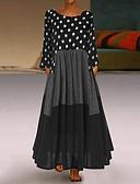 hesapli Maksi Elbiseler-Kadın's Antik Çan Elbise - Yuvarlak Noktalı, Kırk Yama Maksi / Büyük Bedenler / Salaş