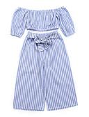 זול אוברולים טריים לתינוקות-סט של בגדים שרוולים קצרים פסים בנות תִינוֹק