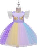 זול סטים של ביגוד לבנות-שמלה עד הברך שרוולים קצרים טלאים טלאים פעיל / מתוק בנות ילדים