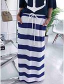 hesapli Kadın Etekleri-Kadın's Sokak Şıklığı Maksi Düz Etekler - Çizgili Mavi & Beyaz Beyaz M L XL