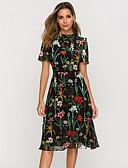 hesapli Günlük Elbiseler-Kadın's Zarif A Şekilli Elbise - Çiçekli, Desen Diz-boyu