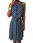 hesapli Print Dresses-Kadın's Temel Sokak Şıklığı Şifon Elbise - Yuvarlak Noktalı Midi