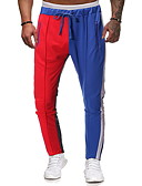 povoljno Muške duge i kratke hlače-Muškarci Osnovni Slim Chinos Hlače - Geometrijski uzorak Plava US40 / UK40 / EU48 US42 / UK42 / EU50 US44 / UK44 / EU52