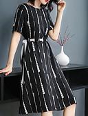 hesapli Print Dresses-Kadın's Zarif A Şekilli Elbise - Çizgili, Kırk Yama Midi
