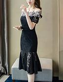 hesapli Maksi Elbiseler-Kadın's Zarif Trompet / Balık Elbise - Geometrik, Desen Midi