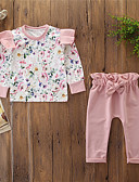 זול לבנים סטים של ביגוד לתינוקות-סט של בגדים כותנה שרוול ארוך פפיון / דפוס פרחוני ורד מאובק פעיל / בסיסי בנות תִינוֹק / פעוטות