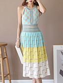 hesapli Romantik Dantel-Kadın's A Şekilli Elbise - Zıt Renkli Midi