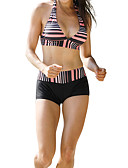 hesapli Bikiniler ve Mayolar-Kadın's Siyah Tankini Mayolar - Çizgili M L XL Siyah