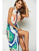 hesapli Romantik Dantel-Kadın's Boho Gömlek Elbise - Gökküşağı, Desen Asimetrik