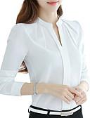 hesapli Gömlek-Kadın's V Yaka İnce - Gömlek Desen, Solid Beyaz