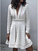 hesapli Mini Elbiseler-Kadın's Sokak Şıklığı A Şekilli Elbise - Geometrik Derin V Diz üstü