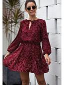 hesapli Mini Elbiseler-Kadın's Sokak Şıklığı A Şekilli Elbise - Yuvarlak Noktalı, Desen Diz üstü