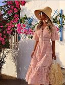 hesapli Maksi Elbiseler-Kadın's Gömlek Elbise - Solid Midi