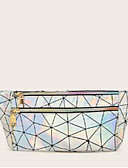 hesapli Bikiniler ve Mayolar-Kadın's Fermuar PU Bel Çantası Geometrik Desenli Siyah / Doğal Pembe / Gümüş
