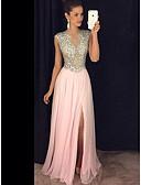 זול שמלות ערב-גזרת A עם תכשיטים עד הריצפה שיפון נוצץ וזוהר ערב רישמי שמלה עם חרוזים / נצנצים / פרטים מקריסטל על ידי JUDY&JULIA / שסע קדמי