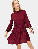 hesapli Mini Elbiseler-Kadın's Zarif A Şekilli Elbise - Solid Diz üstü