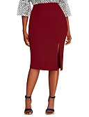 cheap Women's Skirts-Women's Basic / Street chic Plus Size Bodycon Skirts - Solid Colored Split / Patchwork Wine Blue Red XL XXL XXL / Slim