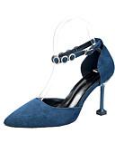 hesapli Kadın Kazakları-Kadın's Topuklular Stiletto Topuk Sivri Uçlu PU Minimalizm Yaz Siyah / Mavi