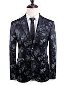 hesapli Erkek Blazerları ve Takım Elbiseleri-Erkek Blazer, Çiçekli V Yaka Pamuklu Siyah US32 / UK32 / EU40 / US34 / UK34 / EU42 / US36 / UK36 / EU44