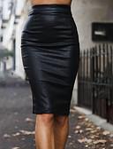 hesapli Kadın Etekleri-Kadın's Seksi PU Bandaj Etekler - Solid Bölünmüş Siyah Şarap Gri S M L / İnce