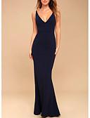 זול שמלות ערב-בתולת ים \ חצוצרה צלילה עד הריצפה פוליאסטר גב פתוח ערב רישמי שמלה עם קפלים על ידי LAN TING Express
