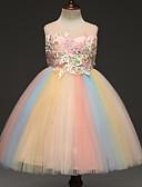 hesapli Elbiseler-Çocuklar Genç Kız Actif Tatlı Gökküşağı Örümcek Ağı Kolsuz Diz üstü Elbise Doğal Pembe / Pamuklu