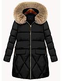 povoljno Women's Down Coats-Žene Jednobojni Parka, Poliester Crn L / XL / XXL / Širok kroj