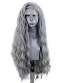 hesapli Kadın Etekleri-Sentetik Dantel Ön Peruk Dalgalı Stil Yan parça Ön Dantel Peruk Gri Gri Sentetik Saç 18-26 inç Kadın's Ayarlanabilir / Isı Dirençli / Parti Gri Peruk Uzun Cosplay Peruk