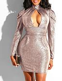 זול שמלות NYE-מיני אחיד - שמלה צינור נדן בגדי ריקוד נשים