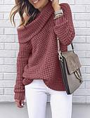 billige Todelt dress til damer-Dame Ensfarget Langermet Pullover, Løse skuldre Svart / Rosa / Rød S / M / L