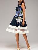hesapli Romantik Dantel-Kadın's Temel A Şekilli Elbise - Çiçekli, Desen Diz-boyu
