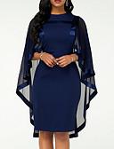 hesapli NYE Elbiseleri-Kadın's Büyük Bedenler Kılıf Elbise - Solid Bisiklet Yaka Diz-boyu