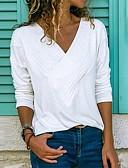 povoljno Majica s rukavima-Veći konfekcijski brojevi Majica s rukavima Žene Jednobojni V izrez Blushing Pink