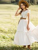 hesapli Elbiseler-Çocuklar Genç Kız Solid Diz-boyu Elbise Beyaz