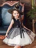 hesapli Elbiseler-Çocuklar Toddler Genç Kız Temel sevimli Stil Çiçekli Kırk Yama Nakış Kolsuz Diz-boyu Elbise Siyah