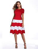 hesapli Mini Elbiseler-Kadın's Kılıf Elbise - Çizgili Diz-boyu