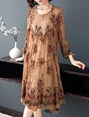 billige Pikekjoler-Dame Store størrelser Sofistikert Elegant A-linje Kjole - Blomstret, Blonde Drapering Broderi Midi Orangutang Rose Magiske kuber